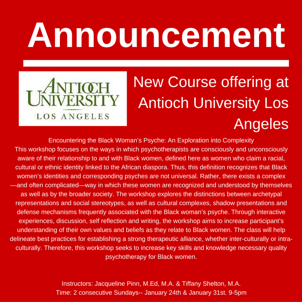 New Course offering at Antioch University Los Angeles